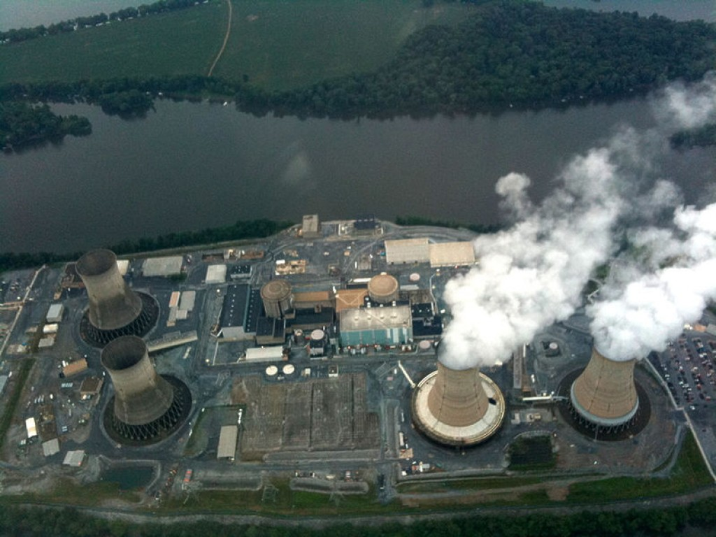 Three Mile Island in 2010. Deactivated Unit 2 visible on the left.