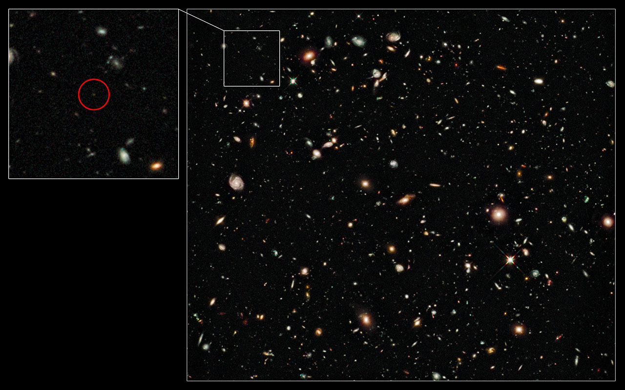 Hubble image of the distance-record galaxy UDFy-38135539 (Source:  ESO). Credit: NASA, ESA, G. Illingworth (UCO/Lick Observatory and University of California, Santa Cruz) and the HUDF09 Team