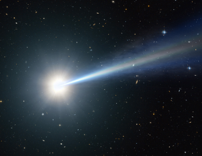 Artist's impression of one of the most distant, oldest, brightest quasars ever seen, hidden behind dust.